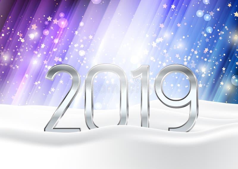 O fundo do ano novo feliz com números aninhou-se na neve ilustração stock