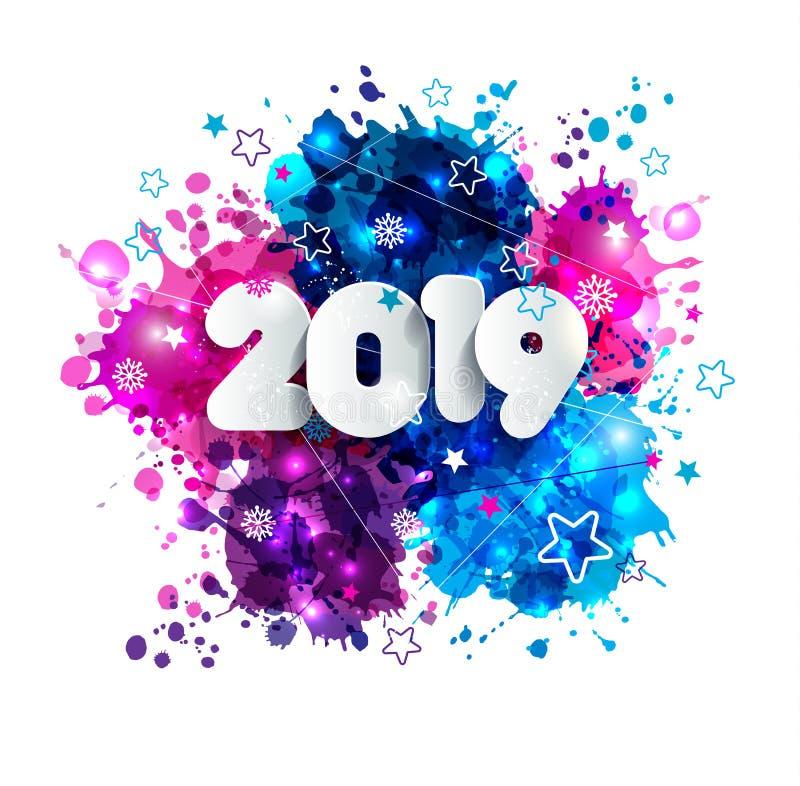 O fundo do ano 2019 novo feliz para seus insetos sazonais e os cumprimentos convites cardam ou dos Natais ilustração do vetor