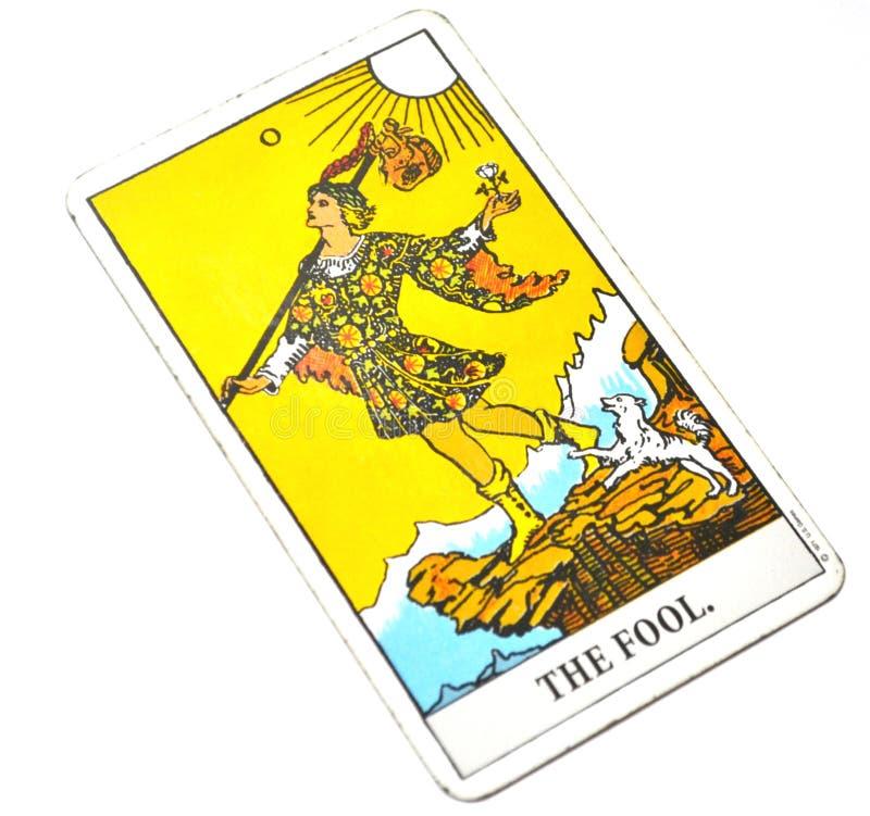 O fundo do branco do cartão de tarô do tolo fotos de stock