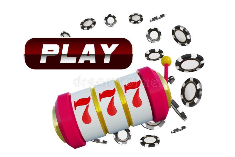 O fundo do casino lasca o slot machine com o jackpot afortunado dos sevens Projeto de conceito em linha do pôquer do casino Ilust ilustração do vetor