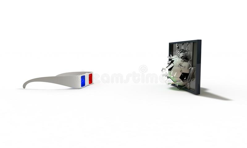 O fundo do conceito da realidade virtual, 3d rende ilustração do vetor