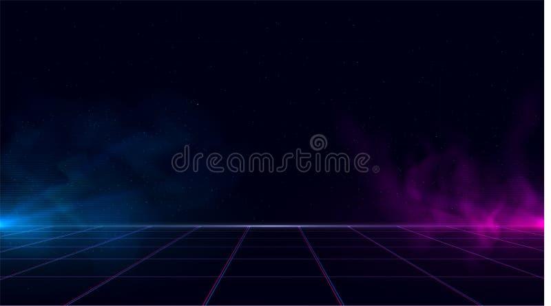 O fundo do cyber do retrowave do vaporwave de Synthwave com espaço da cópia, grade do laser, céu estrelado, azul e roxo incandesc ilustração stock