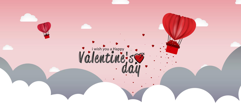 O fundo do dia do amor ou de Valentim com coração deu forma ao voo do balão de ar quente ilustração stock