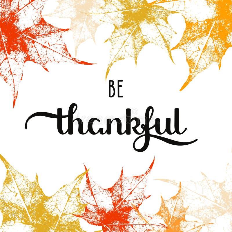 O fundo do feriado com folhas de bordo do outono e palavras tiradas mão seja grato
