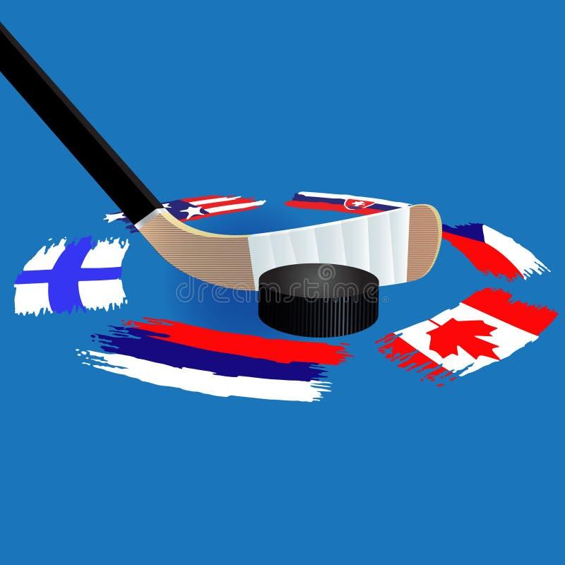 O fundo do h?quei em gelo com bandeiras circunda no gelo imagem de stock royalty free