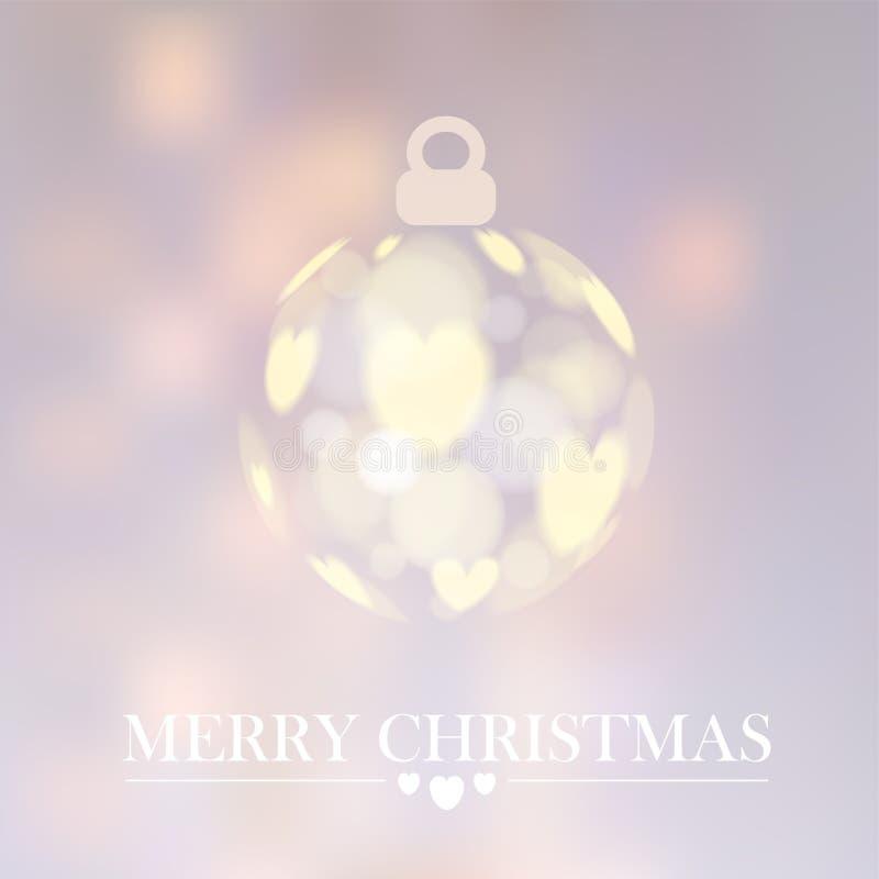 O fundo do Natal com bola do Natal, bokeh ilumina-se, ilustração royalty free