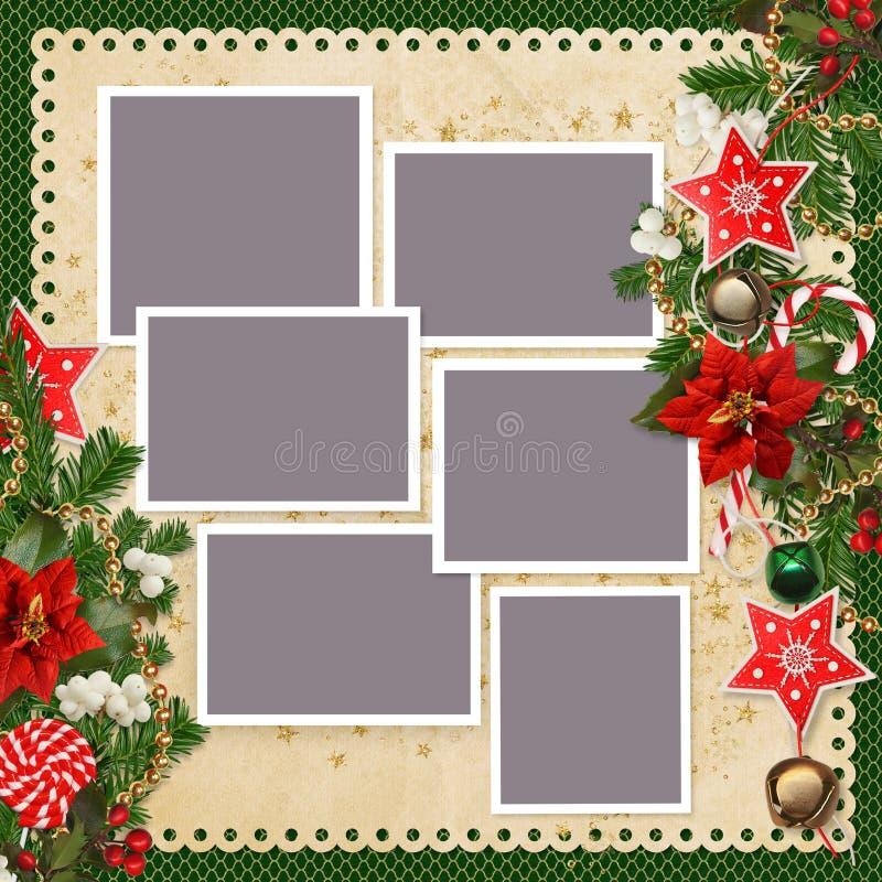 O fundo do Natal com quadros para fotos de família e beiras das estrelas, sinos de Natal, doces, pinho ramifica, poinsétia, jujub ilustração stock