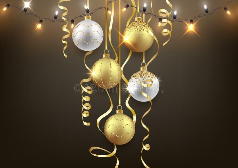 O fundo do Natal e do ano novo projeta, bolas decorativas ilustração do vetor