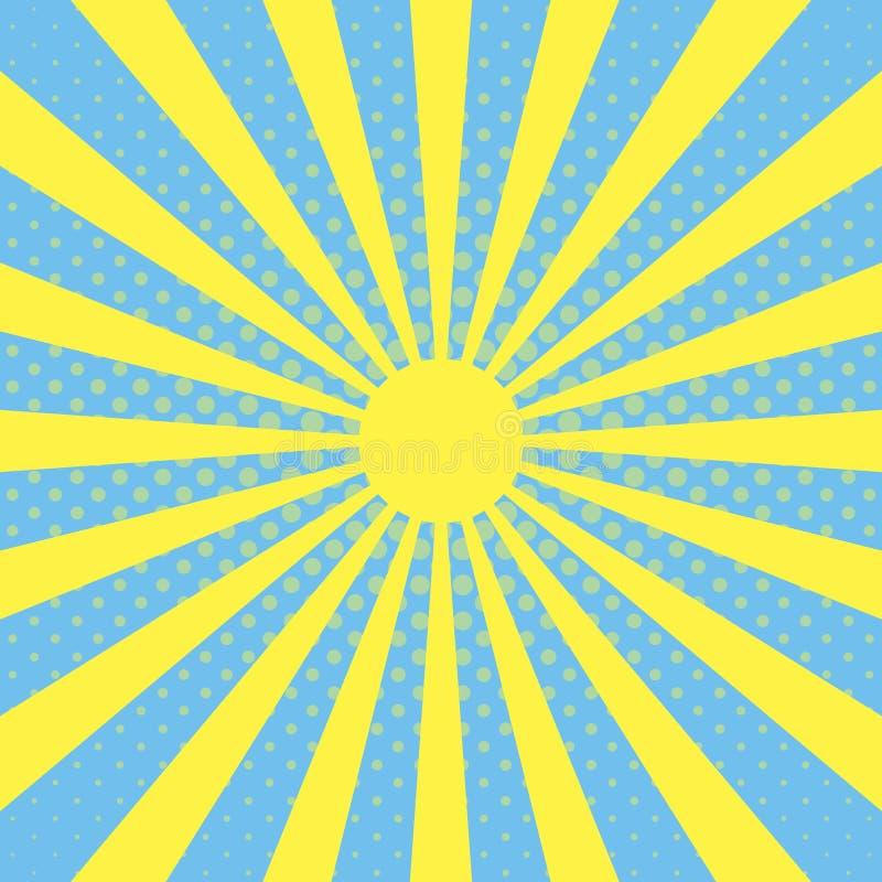 O fundo do pop art com feixe do sol irradia em um fundo do céu azul, efeito de intervalo mínimo, feixe do vetor, os raios da expl ilustração stock