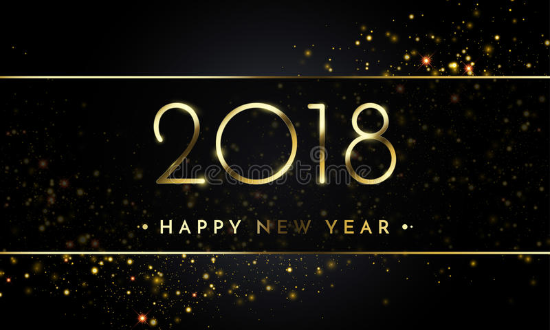 O fundo do preto do ano novo do vetor 2018 com confetes do brilho do ouro chapinha a textura ilustração stock