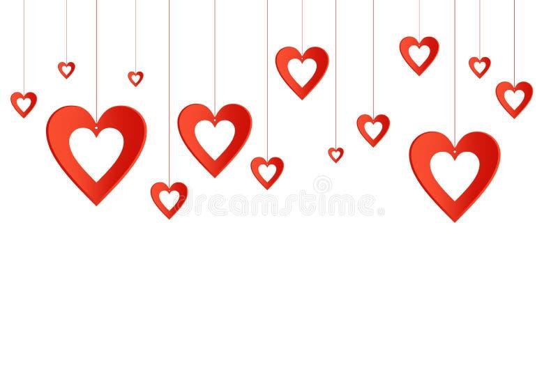 O fundo do Valentim com corações vermelhos com os furos que penduram em um escarlate rosqueia acima ilustração do vetor