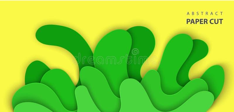 O fundo do vetor com papel da água do respingo cortou formas na cor verde e amarela r ilustração stock