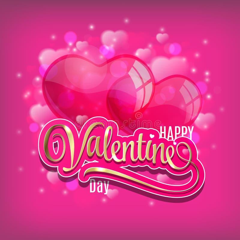 O fundo do vetor do dia de Valentim com coração balloons no campo vermelho ilustração do vetor