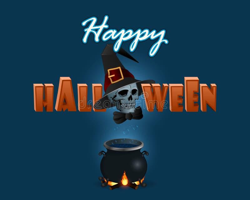 O fundo dos feriados com Dia das Bruxas três dimensões text e caldeirão das bruxas ilustração royalty free