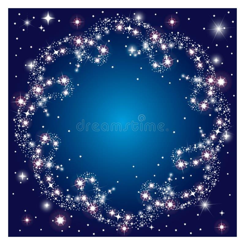 O fundo escuro de incandescência com faísca redonda do quadro stars ilustração royalty free