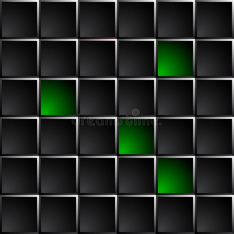 O fundo escuro tecnologico lustrou quadrados pretos e verdes ilustração do vetor