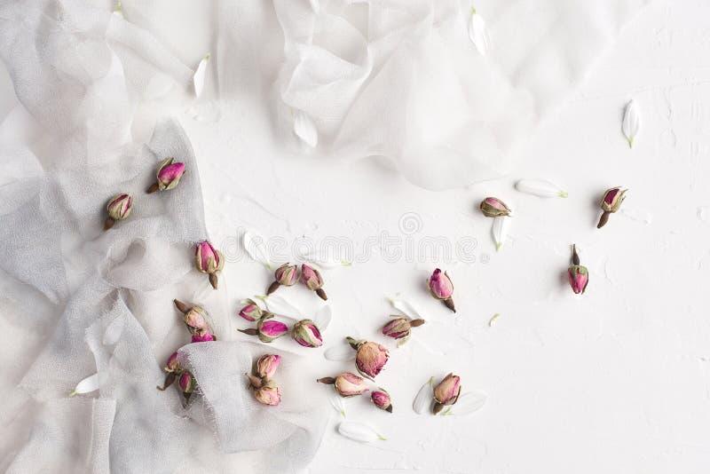 O fundo feminino branco com seda, as pétalas brancas e secado aumentou foto de stock royalty free