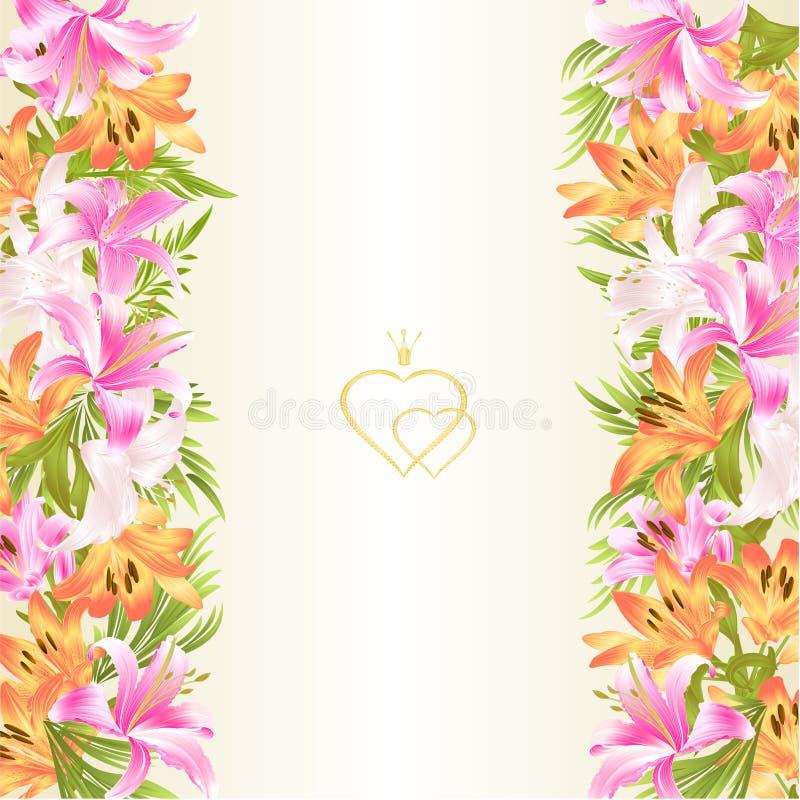 O fundo festivo da beira floral com vintage de florescência dos lírios e dos botões vector a ilustração para o uso no design de i ilustração stock