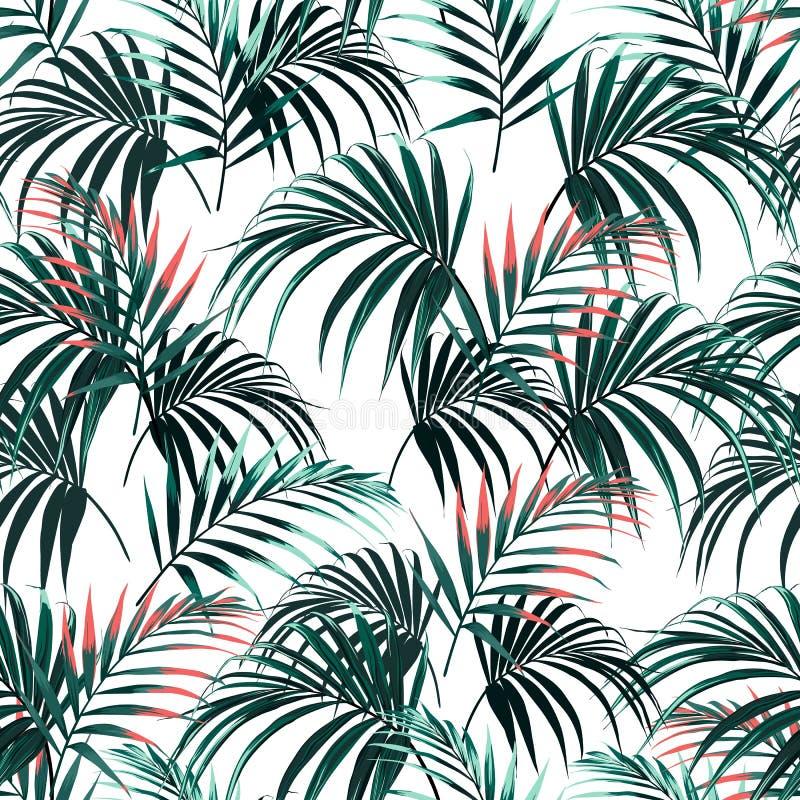 O fundo floral abstrato sem emenda bonito do teste padrão do verão com a laranja tropical da palma sae ilustração royalty free