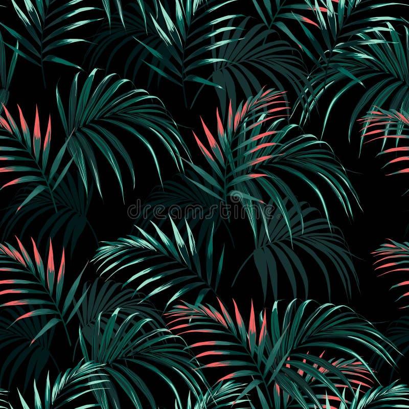 O fundo floral abstrato sem emenda bonito do teste padrão do verão com a laranja tropical da palma sae ilustração do vetor