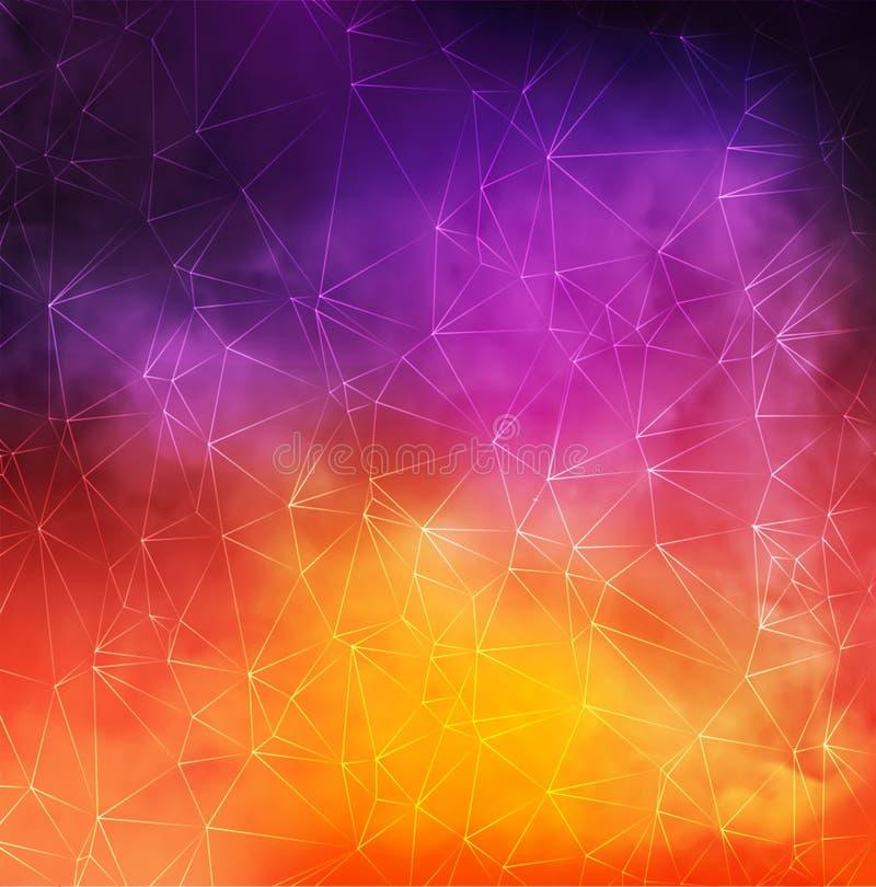 O fundo fumarento colorido do vetor abstrato com triângulo alinha a rede ilustração royalty free