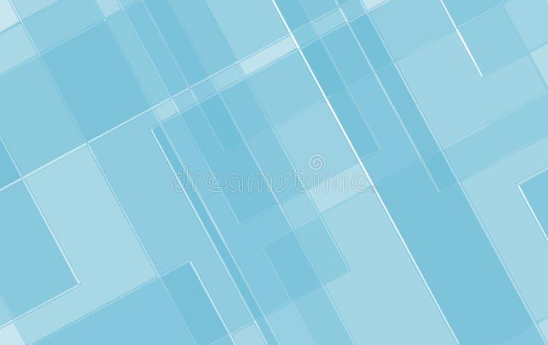O fundo geométrico azul com linhas blocos angulares esquadra no teste padrão de vidro da textura ilustração do vetor