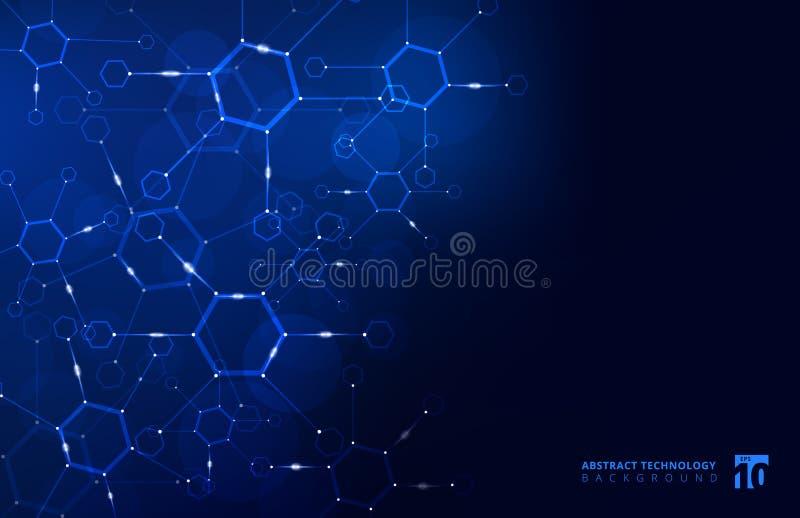 O fundo geométrico do hexágono abstrato com linha conectada e faz ilustração stock
