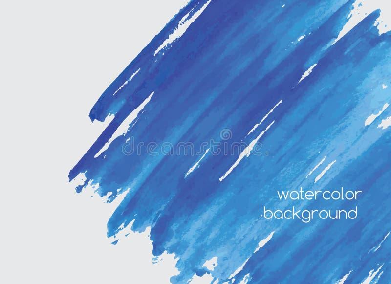 O fundo horizontal da aquarela pintado à mão abstrata com pintura borra, garranchos, manchas ou manchas do azul vívido dos azuis  ilustração do vetor