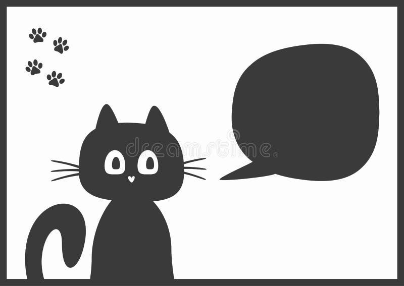 O fundo horizontal simples com quadro, o gatinho engraçado, a bolha do discurso e as patas do gato imprimem ilustração royalty free