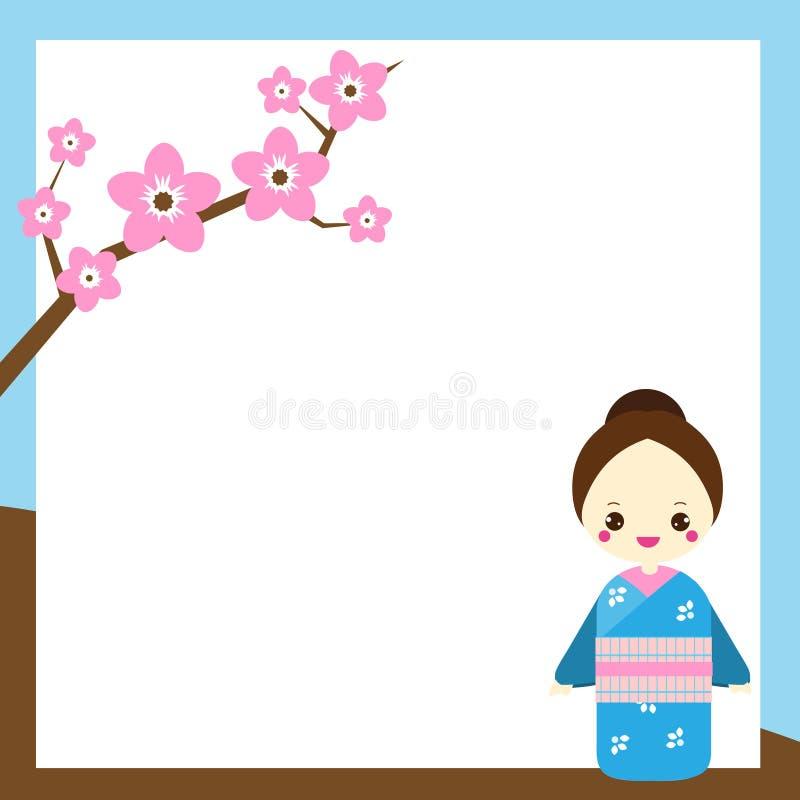 O fundo japonês com a mulher no quimono e sakura ramificam Contexto para o projeto oriental ilustração royalty free