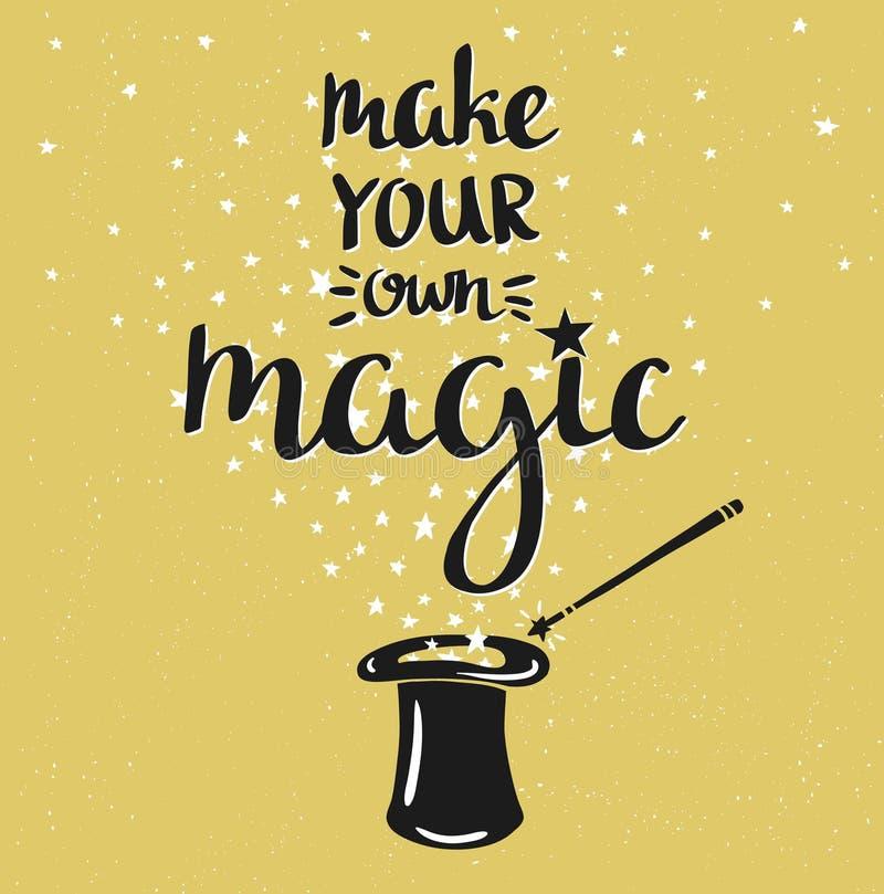 O fundo mágico do chapéu com estrelas e a frase inspirador fazem sua própria mágica ilustração do vetor