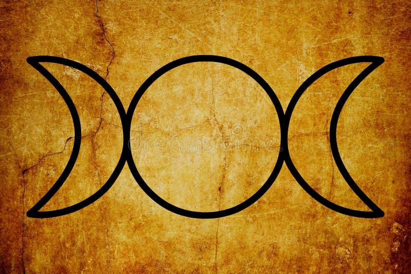 O fundo mágico do vintage dos símbolos do símbolo triplo da deusa ilustração royalty free