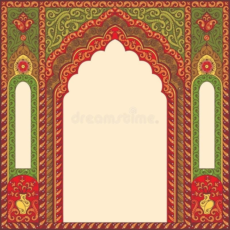 O fundo ornamented a imagem modelada oriental sob a forma de um arco ilustração do vetor