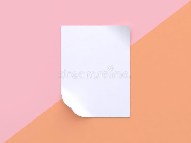 O fundo pastel alaranjado cor-de-rosa inclinou o sumário branco 3d mínimo da curva do canto do papel vazio para tornar acima o pa ilustração royalty free