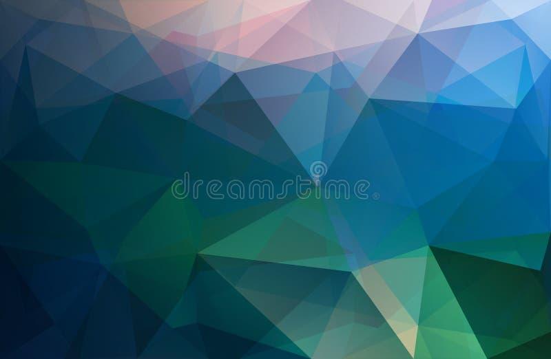 O fundo poligonal do vetor do triângulo, azul, aumentou, verde ilustração stock