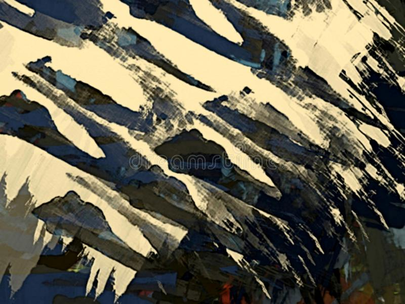 O fundo psicadélico abstrato do grunge das manchas borradas caóticas da cor escova cursos de tamanhos diferentes ilustração do vetor