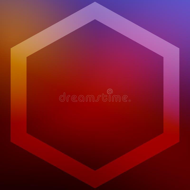 O fundo quadrado com quadro do hexágono para cartões e outro do Natal deseja Para a cópia e a Web ilustração do vetor