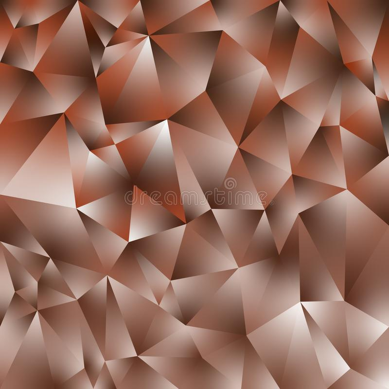 O fundo quadrado poligonal irregular do vetor - baixo teste padrão poli do triângulo - cobre aumentou cor alaranjada marrom do ou ilustração stock