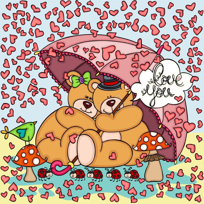 O fundo que chove corações acopla ursos de peluche com guarda-chuva ilustração stock