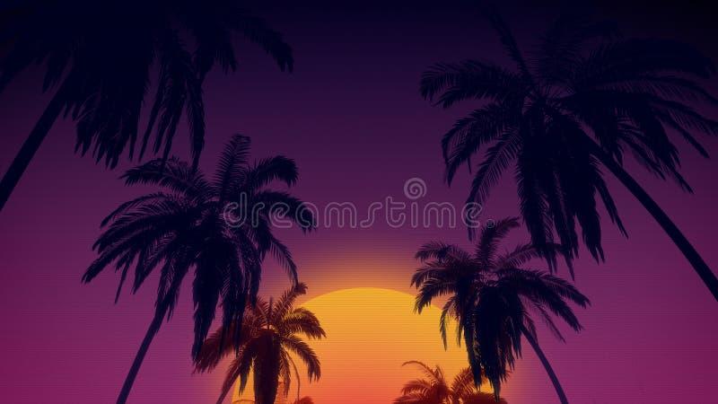 o fundo retro do estilo de 80 ` s com as árvores de coco tropicais e o por do sol de 3d rendem ilustração stock