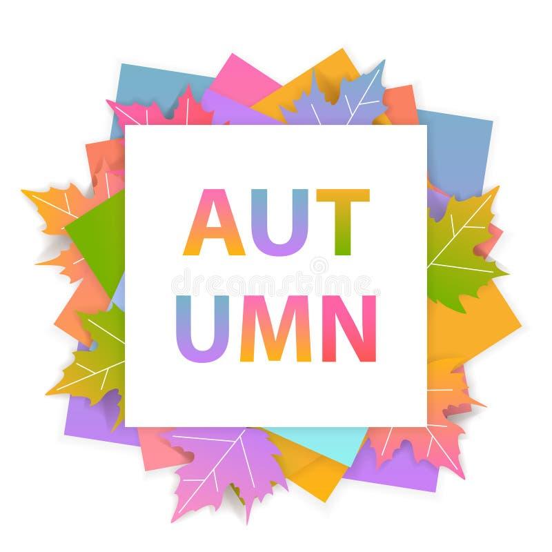O fundo sazonal do quadro da queda brilhante do outono com inclinação coloriu as folhas de bordo ilustração do vetor