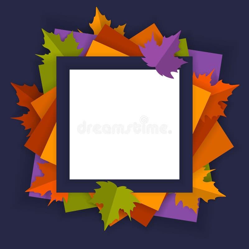 O fundo sazonal do quadro da queda brilhante do outono com papel cortou a ilustração do vetor das folhas de bordo do estilo ilustração do vetor