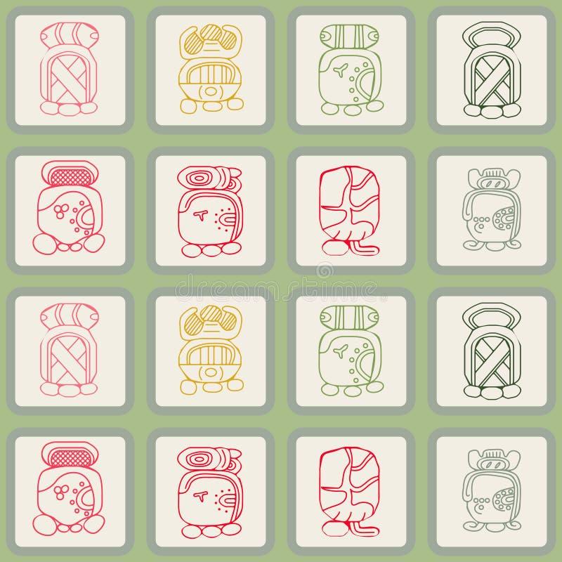 O fundo sem emenda com calendário do Maya nomeou meses e associou glyphs ilustração stock
