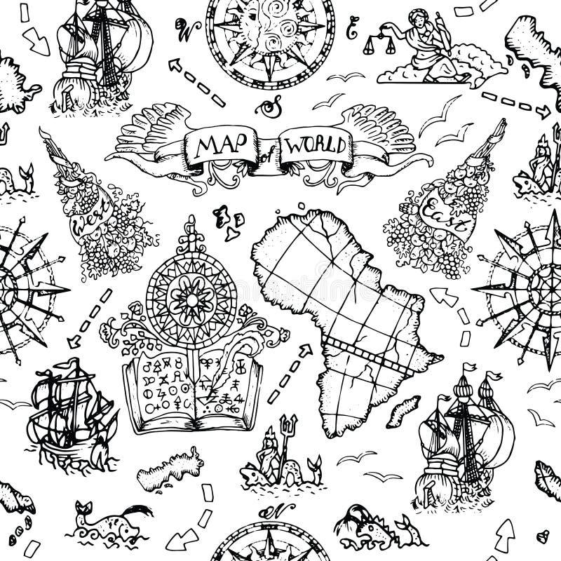 O fundo sem emenda com mapa do atlas detalha, navios e símbolos náuticos velhos ilustração royalty free