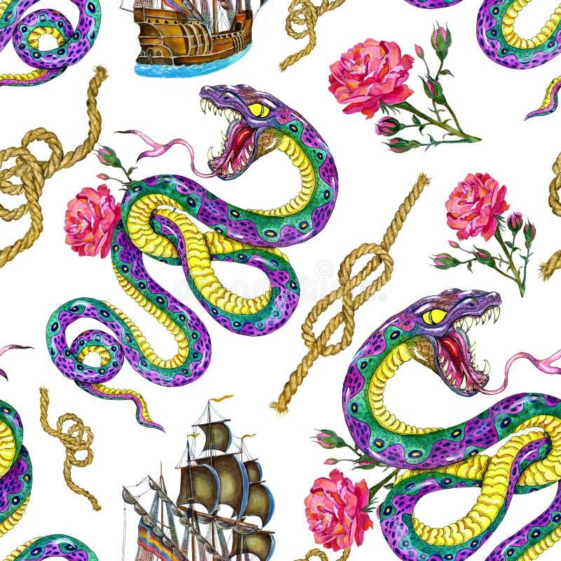O fundo sem emenda com serpente, navio e aumentou ilustração do vetor