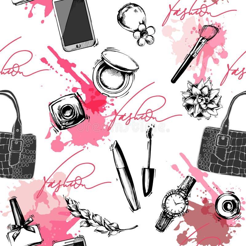 O fundo sem emenda da forma e dos cosméticos com compõe objetos do artista Ilustração do vetor imagens de stock royalty free