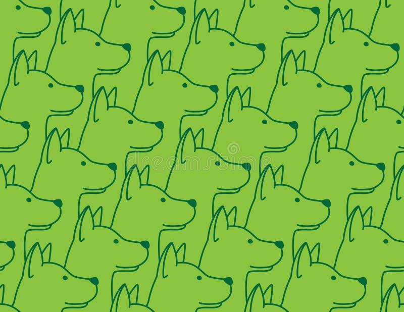 O fundo sem emenda do papel de parede do cão do buldogue francês do cachorrinho do vetor do teste padrão do cão isolou o verde ilustração royalty free