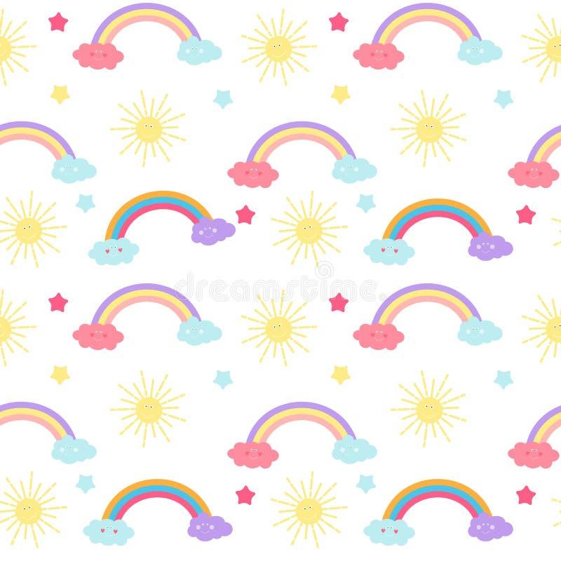 O fundo sem emenda do teste padrão do ` s das crianças com Sun, a nuvem e as estrelas Vector a ilustração ilustração do vetor