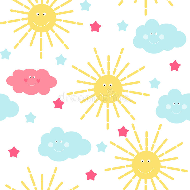 O fundo sem emenda do teste padrão do ` s das crianças com Sun, a nuvem e as estrelas Vector a ilustração ilustração stock