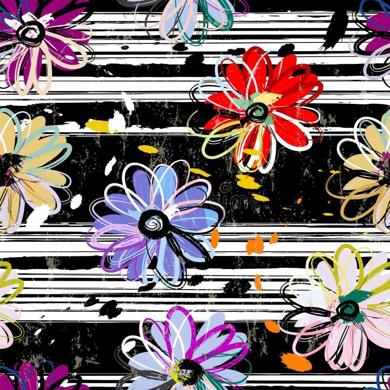 O fundo sem emenda floral do teste padrão, com cursos e espirra, b ilustração do vetor